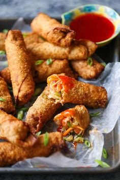 Shrimp Egg Rolls - Damn Delicious Make your favorite take-out dish right at home! Best of all, these can be baked or fried. Make a huge batch today and freeze as needed! Seafood Recipes, Appetizer Recipes, Cooking Recipes, Shrimp Appetizers, Food Shrimp, Seafood Menu, Dinner Recipes, Delicious Appetizers, Cooking Ribs