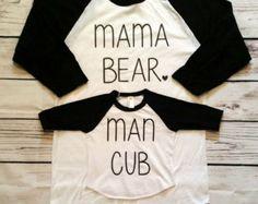 SALE Mama bear man cub raglan set - baby shower gift