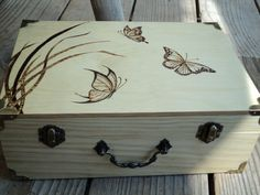 Woodburned Butterfly Trio Wooden Jewelry by WillowSwitchDesigns, $50.00