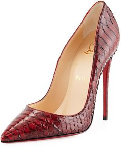 Christian Louboutin So Kate Python Red Sole Pump, Red