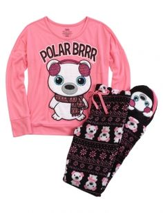 Polar Bear Fleece Pajama Set | Justice