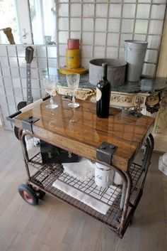 reclaimed wood bar cart - Google Search