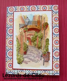 Cécile Ortiz:  Stampin' Up! Mediterranean Moments Stamp Set; watercolor; 3D elements