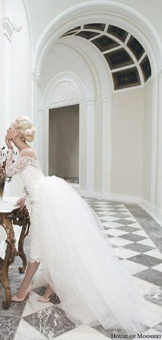 house of mooshki bridal autumn 2014 juliette lace pencil skirt detachable tulle train side view