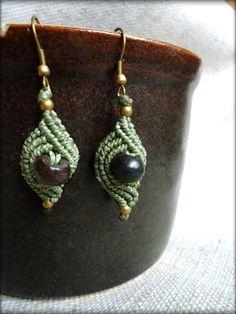 Gentle Green Leafy Macrame Earrings with Bone Beads by DidikaiDesigns on Etsy