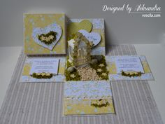 Wedding exploding box with married couple in the romantic garden pavilion.