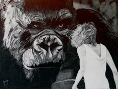 KING KONG (2005) Dibuix a llapis grafit sobre fusta. Dibujo a lápiz grafito sobre madera. Graphite pencil drawing on wood. Size: 60 x 45 cm H7, H2, B, B2, B5, B8