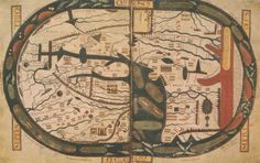 Mapamundi de Beato de Liébana conservado en el manuscrito de Saint Severn. El mapa se encara hacia el este y no hacia el norte, en contraste con lo usual en cartografía moderna. Se dice por tanto que el mapa está orientado. Fuente: Wikipedia.