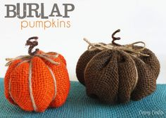 DIY Burlap Pumpkins - Maybe use scouring pads for small versions?