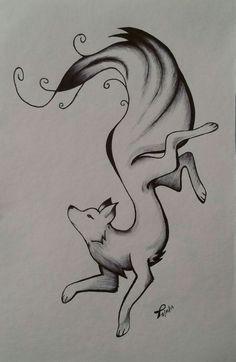 La mente es como un paracaídas. Sólo funciona cuando se abre... ✨   -Albert Einstein Cute Drawings For Him, Cute Animal Drawings, Animal Sketches, Art Drawings Sketches, Easy Drawings, Wolf Sketch, Fox Drawing, Fox Painting, Fox Art