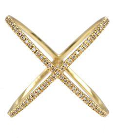 Eva Fehren Gold Champagne Diamond X Ring