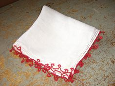 Vintage Handkerchief Red Trim by TheBackShak on Etsy, $4.00