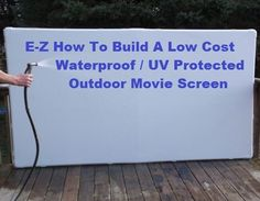 DIY Outdoor Movie Screen. Free Projection Screen Frame Instructions from www.b-aDeals.com #OutdoorMovieScreen #BackYardMovie #DriveInMovie