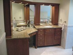 Bathroom Vanity Cabinets with Makeup | Accent tile runs at chair rail height through shower and around the ...