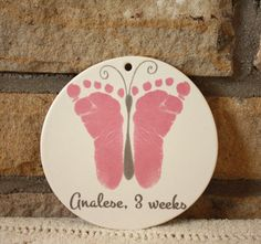 Baby footprint art, Porcelain ornament. New Baby. Baptism. Kiln fired to last forever. Baby in memory. Mother's Day. New Grandma, Nursery