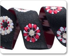 Black and Red Flower Petal Ribbon