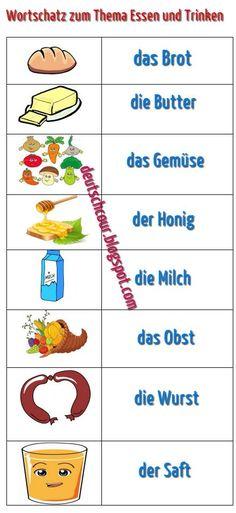 Wortschatz zum Thema Essen und Trinken ~ Deutsch lernen