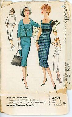 1950s Sheath Dress and Jacket Pattern McCalls 4691 by CynicalGirl