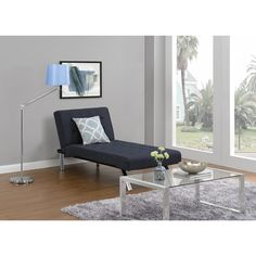 The Emily Navy Chaise Lounger, tufted faux leather or linen upholstery and stylish chrome legs, this chair is modern and contemporary, and suitable for any room décor. The multi-position back features quickly converts the chaise from lounger to sleeper.