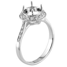 Pave Set Graduating Shank Halo Engagement Ring