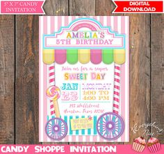 Candy Sweet Shoppe Theme Pink Birthday Invitation and Thank