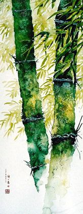 Bamboo forest 竹 林 深 处0154 Watercolor
