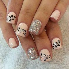 Pale pink Cheetah Nail art - 50 Cheetah Nail Designs <3 <3