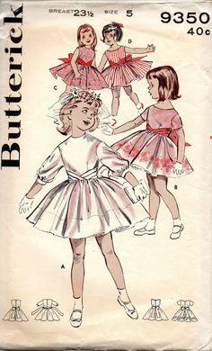 Butterick 9350 1960s Girls Cummerbund Dress First Communion Childs Vintage Sewing Pattern Size 5 Breast 23