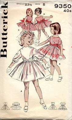 Butterick 9350 1960s Girls Cummerbund Dress First Holy Comunion childs vintage sewing pattern  by mbchills