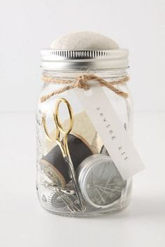 Mason Jar Sewing Kit -  This would make a great grad gift idea if you know a high school grad heading for college -
