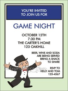 Game Night Monopoly Style Card Details