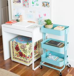 I would love one of these rolling carts! IKEA Trolley & Desk @ Style and Shenanigans HQ