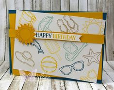 http://nicolejuliewilson.blogspot.com.au/ The Artful Stampers Blog Hop Challenge 103 A day at the Beach, Island Indigo, Pool Party, Crumb Cake, So Saffron and Crushed curry www.facebook.com/NicoleWilsonStamp #stampinup