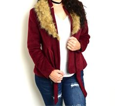 Plus+Size+Wool+Blend+Faux+Fur+Collar+Belted+Coat+Jacket