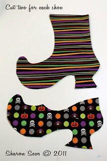 molde de bota da bruxa de tecido   Ceci EuQfiz: Bota da bruxa - saquinho de hallowen com molde