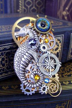 Steampunk Brooch P303  Nautical and Clockworks by DesignsByFriston, $59.00