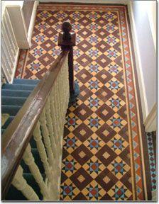 Victorian Hallway Tiles, Tiled Hallway, Hallway Flooring, Hall Tiles, Tiles Uk, Stenciled Floor, Tile Patterns, Geometric Patterns, Victorian Homes