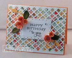 By Stacy Morgan. Lay a 5 x 4 background die-cut over designer paper. Add sentiment, embellishments, and card base. [Note: The linked URL is no longer valid sent it goes to the Flourishes site. This company no longer exists. Embossed Cards, Beautiful Handmade Cards, Heartfelt Creations, Pretty Cards, Cool Cards, Flower Cards, Homemade Cards, Bunt, Making Ideas