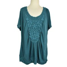 Maurices Womens 2X Blouson Top Relaxed Linen Blend Stretch Lace SS Scoop Neck #Maurices #Blouse #Casual Maurices Plus Size, Lace Trim Shorts, Spring Has Sprung, Peasant Blouse, Stretch Lace, Teal Green, Lace Applique, Fun Things, Scoop Neck