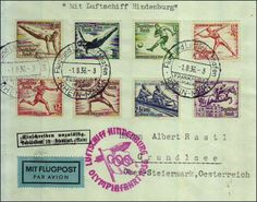 Philasearch.com - German Empire, 1933/45 Third Reich. 1936, summer Olympic Games, Berlin; 2 documents, franked by the Pair of olympia souvenir sheets, cancelled always with Altenbrak (Harz) 188. 36 and 2 airmail cover to the Olympiaflug with airship Hindenburg, always with the 8 different olympic stamps frank., cancelled always with flight and Air ship harbor Rhine-Main 1. 8. 36 Lot condition Dealer Thomas Juranek Briefmarkenauktionshaus Auction Starting Price: 80.00 EUR