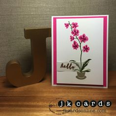 Hero Arts TIP Class Color Layering Orchid Hello. Color Layering Orchid in a Pot Photopolymer, Ranger Gold Embossing Powder, Vellum Card Stock.