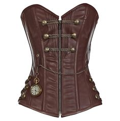 i don't even do steampunk really, but i could totally enjoy wearing this. (Brown Steam punk Style Corset with Chain Detail) Chat Steampunk, Corset Steampunk, Style Steampunk, Steampunk Clothing, Steampunk Fashion, Steampunk Cosplay, Steampunk Halloween, Steampunk Couture, Steampunk Accessories