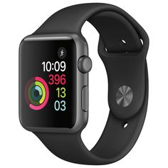 f359ad49adf Apple Watch for iPhone - 42mm Space Gray Aluminum Case With Black Sport  Band