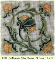 """Art Nouveau Yellow Flowers"" by Brenda Stofft Designs Size: x Mesh Count: 13 Cross Stitch Art, Cross Stitch Borders, Simple Cross Stitch, Cross Stitch Flowers, Cross Stitch Designs, Cross Stitching, Cross Stitch Embroidery, Cross Stitch Patterns, Easy Cross"