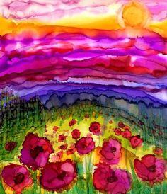 "Daily Paintworks - ""Poppy Field"" - Original Fine Art for Sale - © Kristen Dukat Alcohol Ink Crafts, Alcohol Ink Painting, Alcohol Ink Art, Watercolor Painting Techniques, Painting & Drawing, Watercolor Paintings, Watercolours, Fine Art Auctions, Gravure"