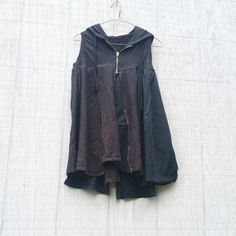 Tank Top, Black Shirt, Upcycled Tunic, Hoodie, Black Top, Repurposed, Upcycled Clothing, Boho Shirt, Refashioned Shirt, Loose Fit