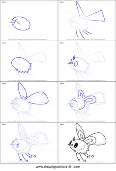 How to Draw Cutiefly from Pokemon Sun and Moon printable step by step drawing sheet : DrawingTutorials101.com