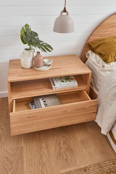 The Norah Bedside is an elegant design that will keep everything where it should be. Featuring a wireless phone charger built into the shelf, there's no need for unsightly charging cords anymore! Measures 800mm x 450mm x 540mm. Available in all timbers with a clear polyurethane finish. Light Oak, Storage Cabinets, Bedside, Floating Nightstand, Interior Inspiration, Phone Charger, Cords, It Is Finished, Shelves