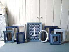 Navy Blue Nautical Frame Set Navy Blue Grey by WillowsEndCottage