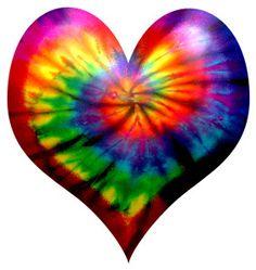 Rainbow tie dye heart